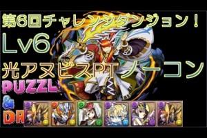 【パズドラ】第6回チャレンジダンジョン! Lv6 光アヌビスPTノーコン【TAKA】