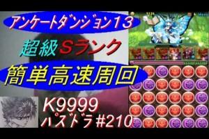 【パズドラ】アンケートダンジョン13 超級 Sランク 高速周回 赤オーディンpt ノーコン