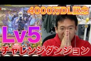 【パズドラ】チャレンジダンジョン Lv5に挑戦!【4000万DL記念】